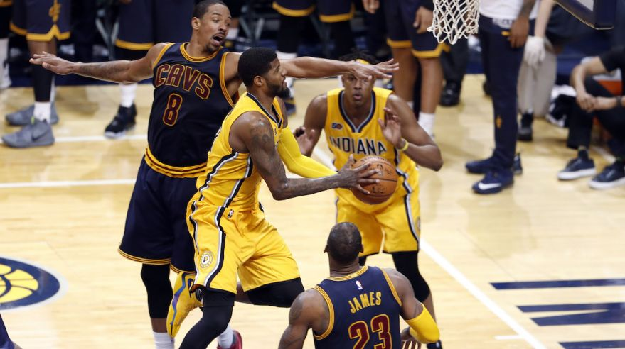 Indiana Pacers, Paul George, Cleveland Cavaliers, Channing Frye, nba, basketbal, apr17, reuters