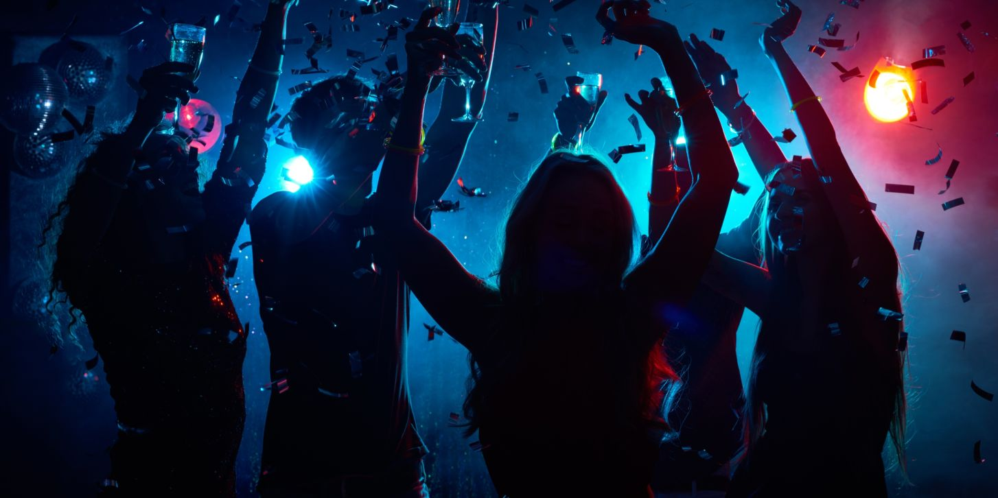 Nightclub party with confetti