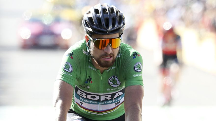 Peter Sagan v zelenom drese na Tour de France 2018.