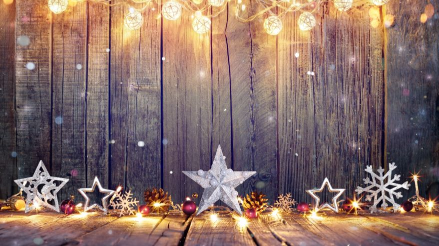 Vintage Christmas Card With Lights And Star On Table
