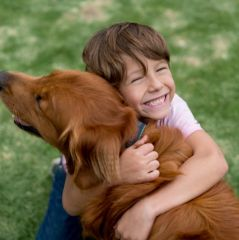 Happy boy with a beautiful dog