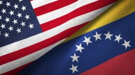 Venezuela and United States two flags together realations textile cloth fabric texture